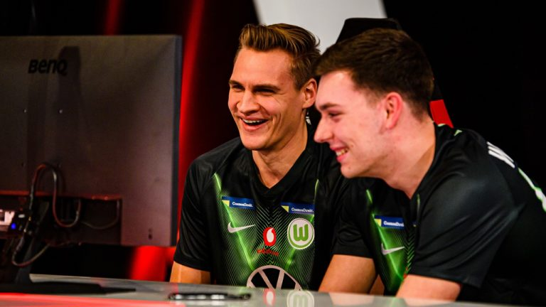 "MUNICH, GERMANY - JANUARY 23: Benedikt ""SaLzOr"" Saltzer and Benedikt ""BeneCR7x"" Bauer of Wolfsburg compete during the Virtual Bundesliga Featured Matches Game Day 16 and 17 on January 23, 2020 in Munich, Germany. (Photo by Sebastian Widmann/Bundesliga/Bundesliga Collection via Getty Images)"