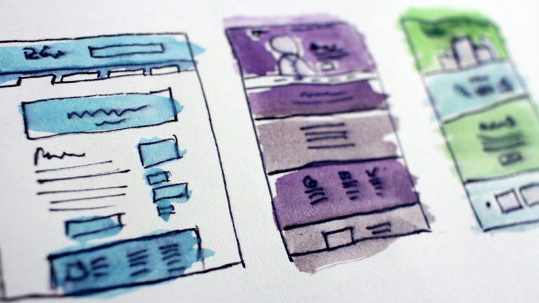 konzept einer website mit drei seiten