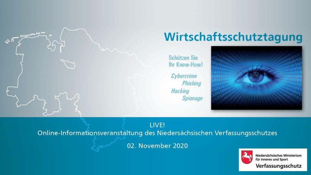 Cybersicherheit: Wirtschaftsschutztagung 2020 am 02. November 2020