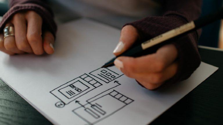 Zwei Hände zeichnen einen Plan